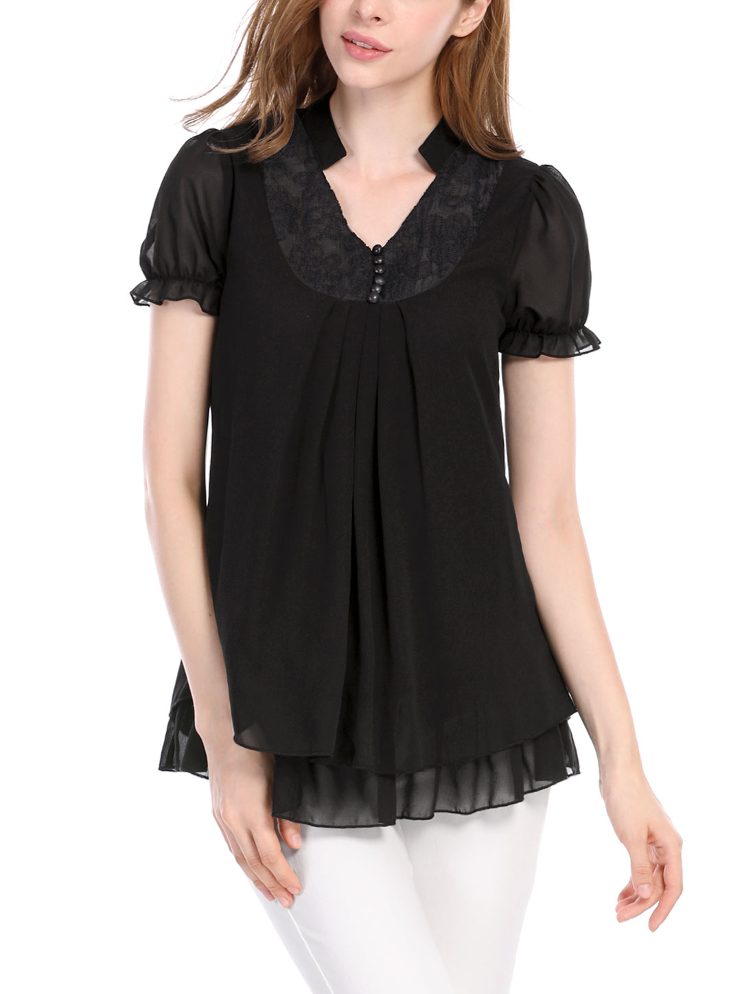 Ladies Short Sleeves Stand Collar Texture Pleated Blouses Black M