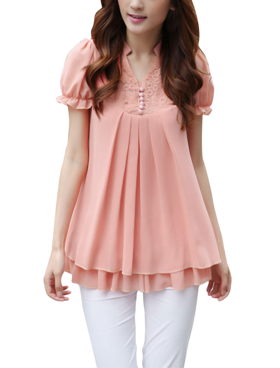Women Flouncing Lace Solid Color V Neck Flare Shirts Pink M
