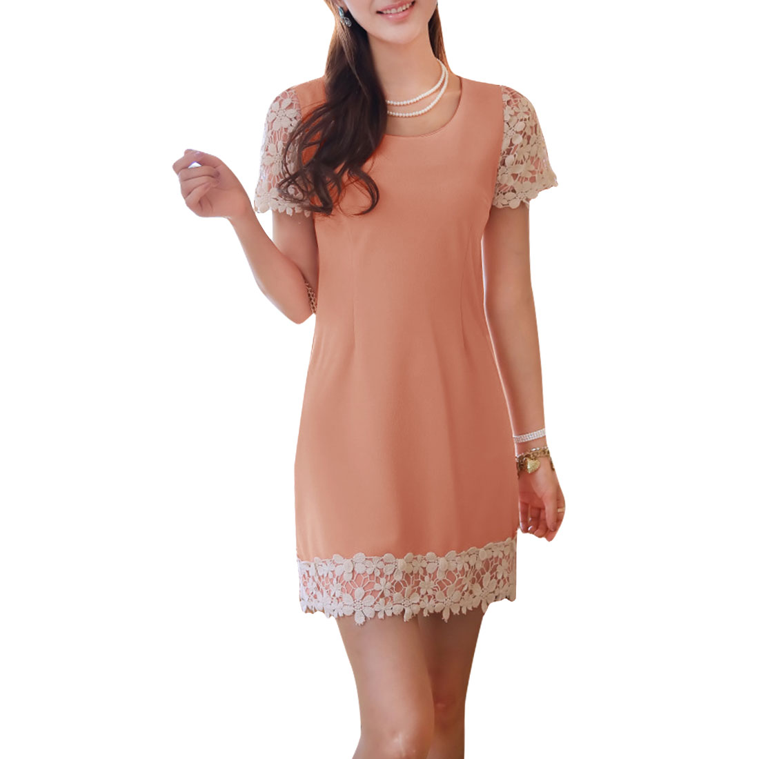 Ladies Short Sleeves Lace Round Neck Stretchy Tea Dress Pink S
