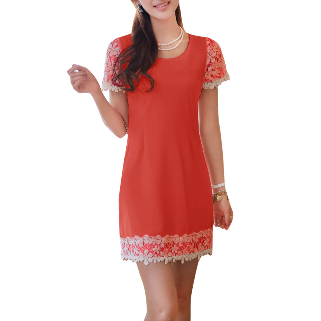 Women Zipper Up Side Splice Crochet Decor Tea Dress Watermelon Red S