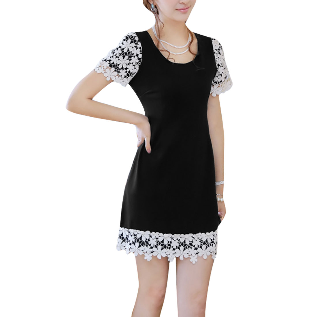 Ladies Hidden Zipper Side Above Knee Spliced Lace Dress Black S