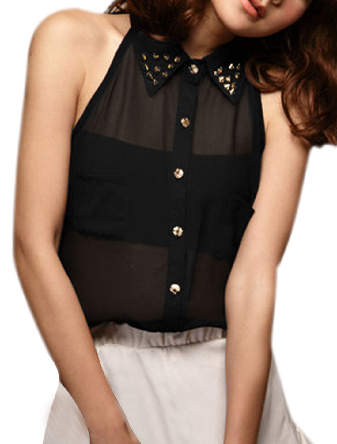 Women Sleeveless Single Breasted Chiffon Fashion Tops Blouses Black XS