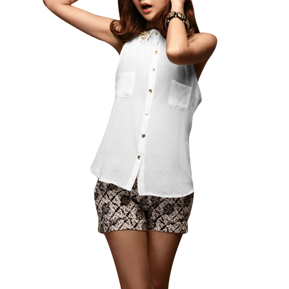 Ladies Point Collar Chiffon Rivets Buttoned Front Pockets Shirt White XS
