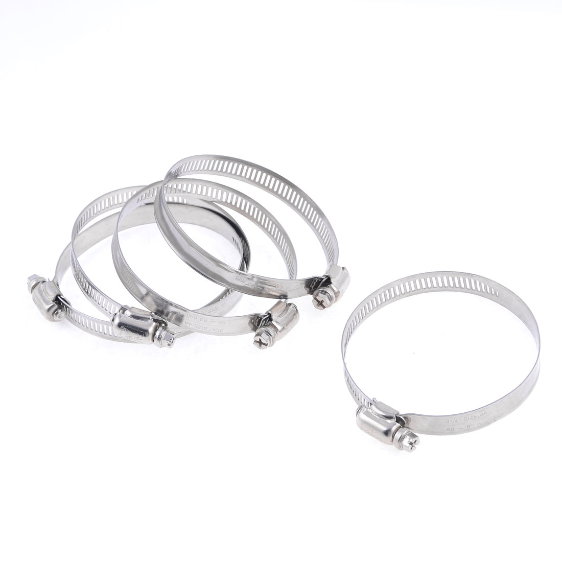 5 Pcs Silver Tone Adjustable 60-83mm Range Metal Worm Drive Hose Clamp