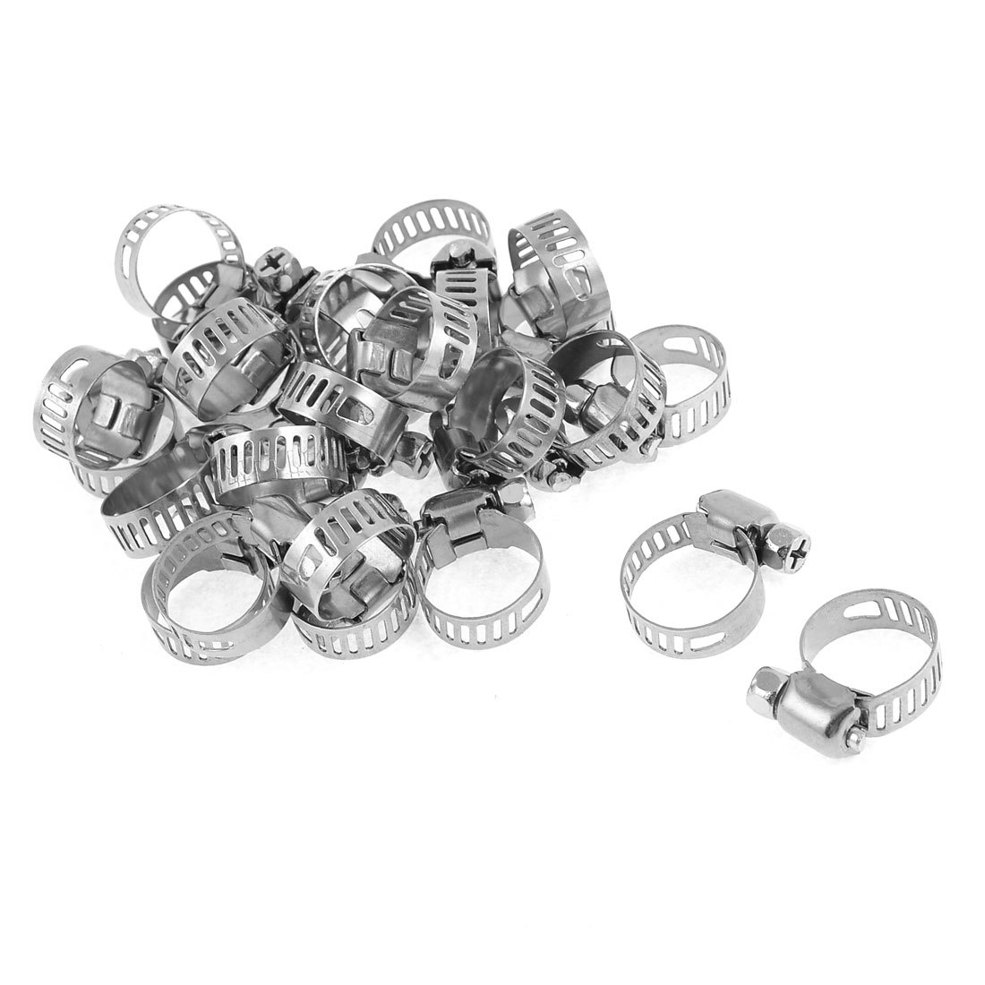 25 Pcs 9-16mm Wide Metal Adjustable Hose Clamp Clips Fastener