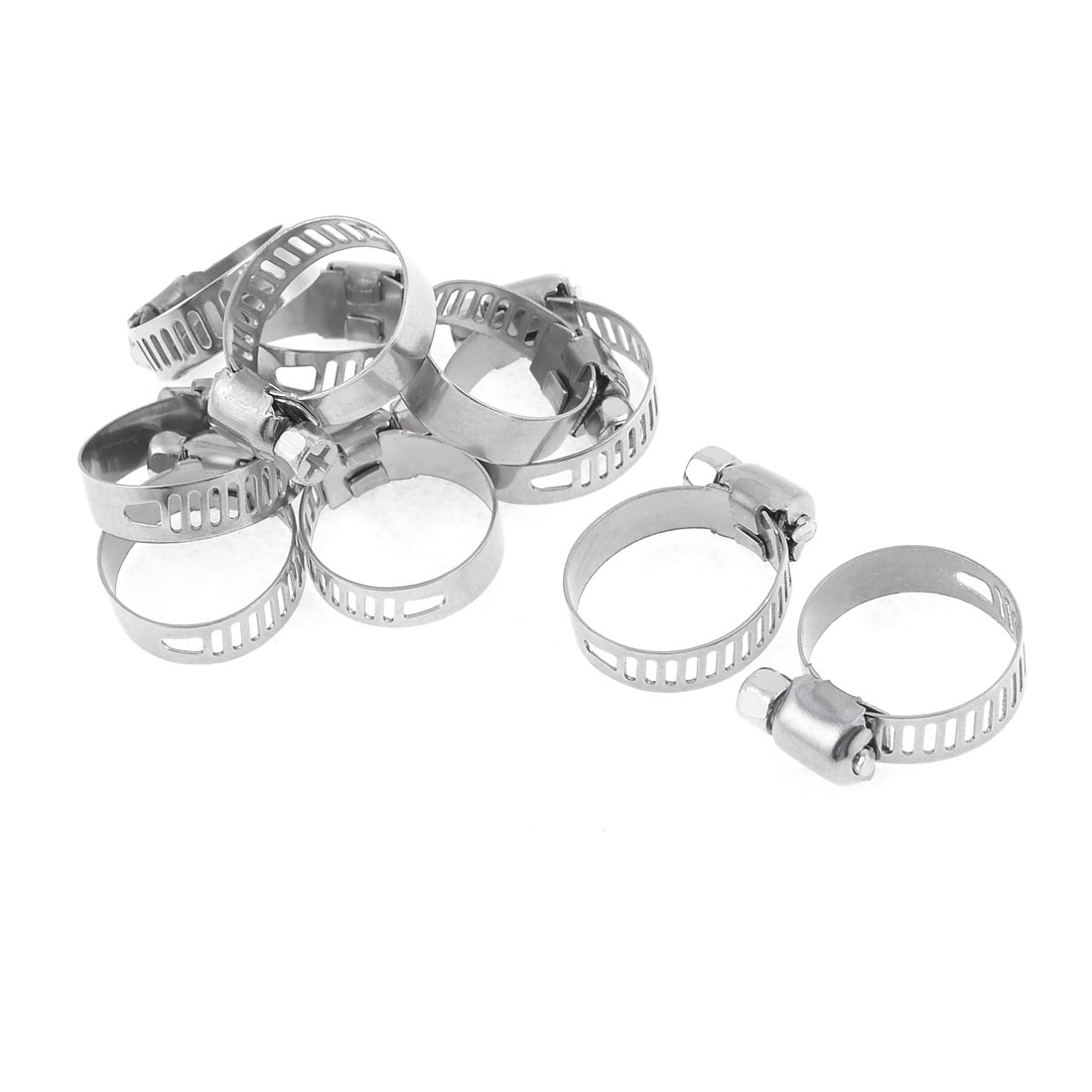 10 Pcs Adjustable Stainless Steel Worm Drive Hose Clamp