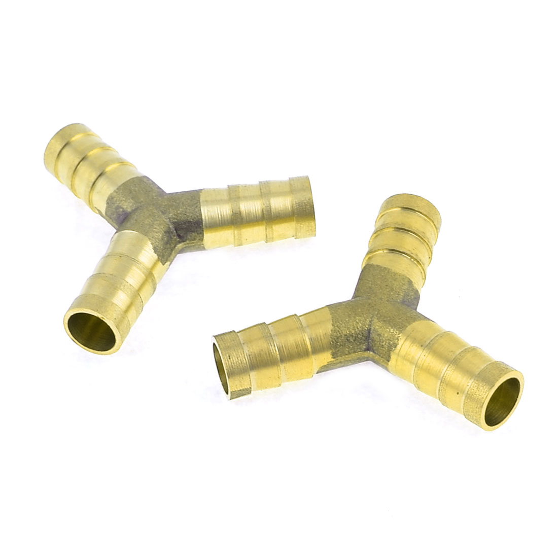 2 Pcs Gold Tone Metal Tri Way Fuel Gas Hose Joiner Connector