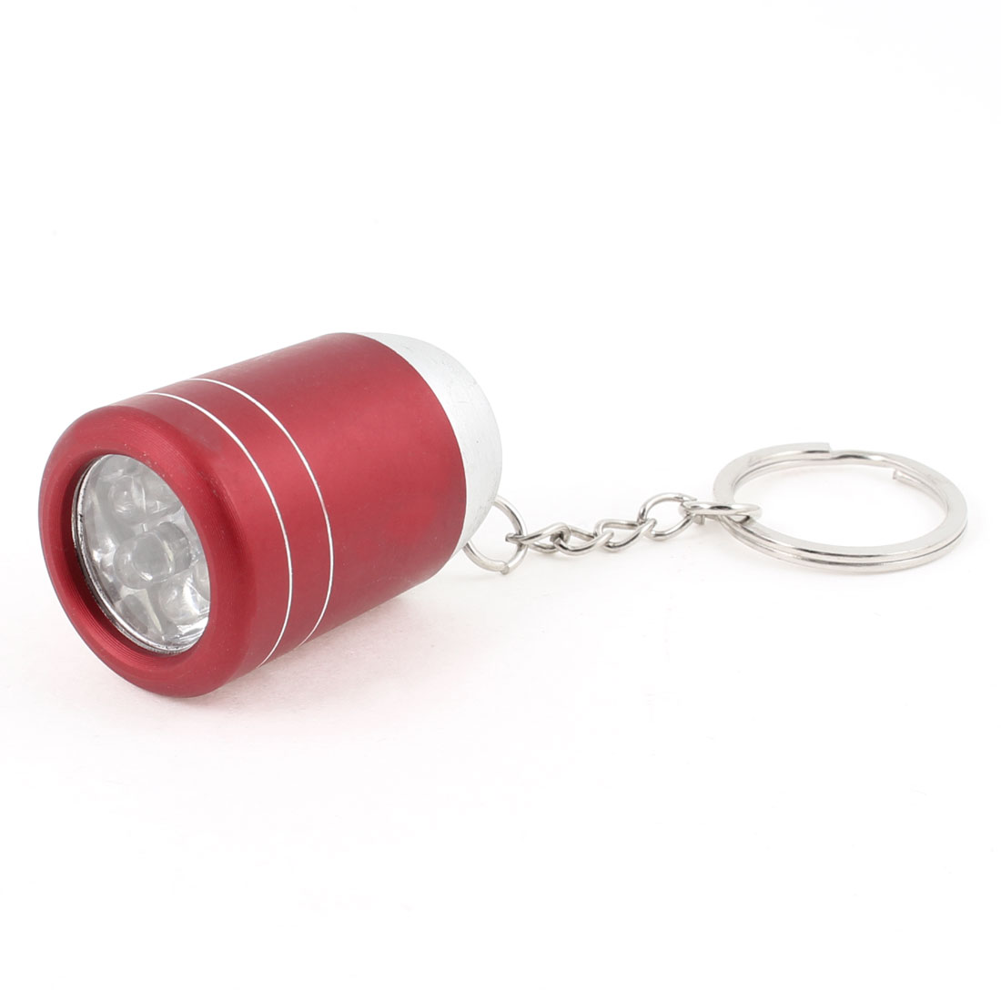 Red Press Button 6 White LED Pocket Flashlight Torch Lamp Light + Key Ring