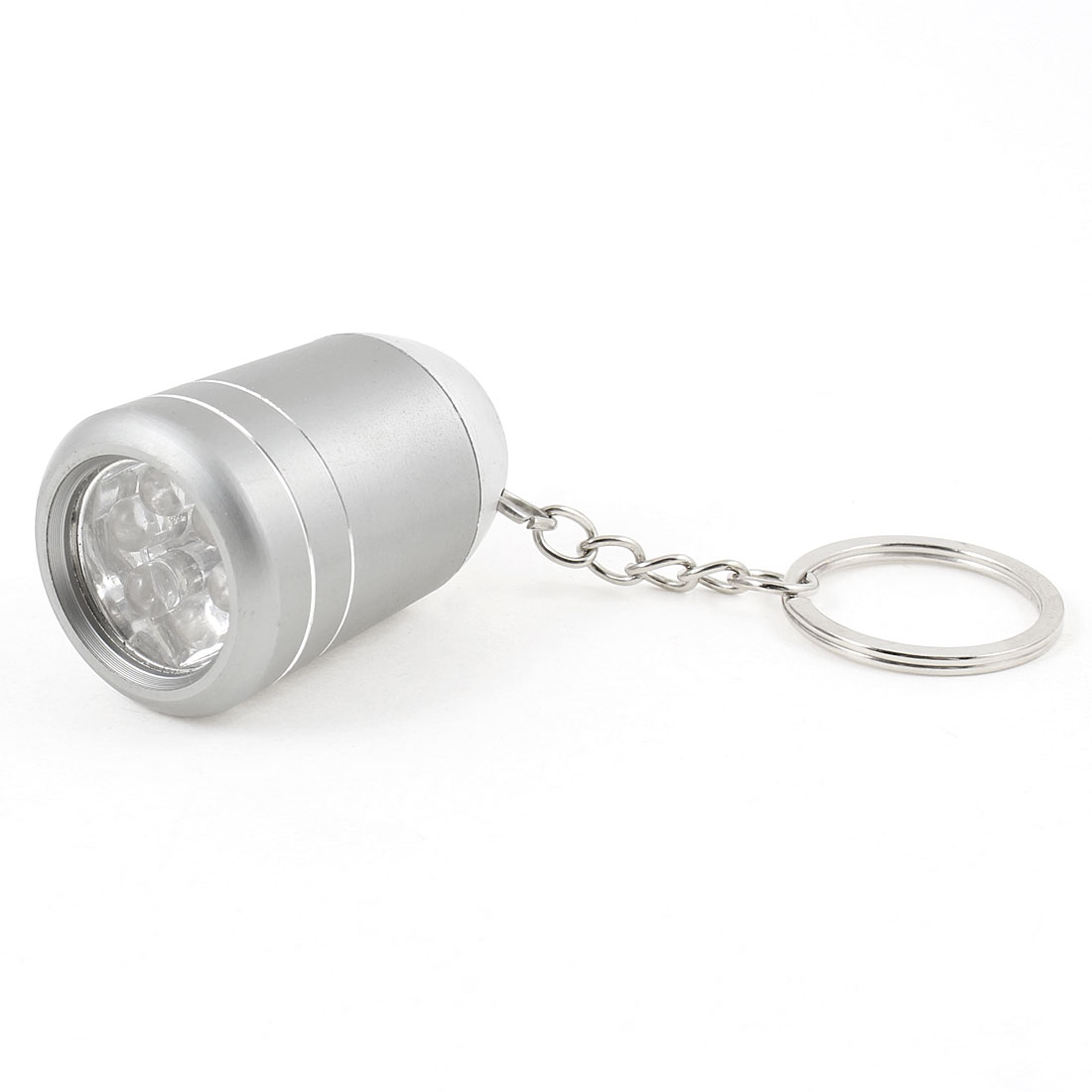 Silver Tone Alloy Shell Battery Power 6 White LED Flashlight Torch w Key Ring