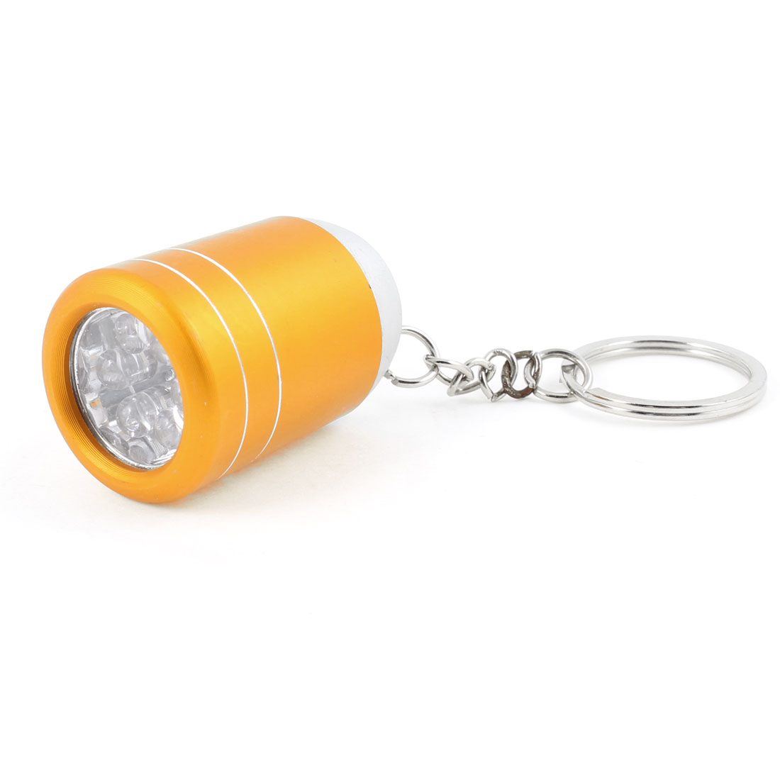 Copper Tone Press Button 6 White LED Mini Flashlight Torch Lamp Light Key Ring