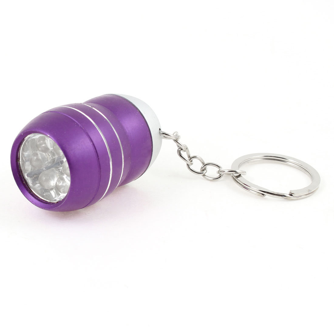 Purple Alloy Shells Battery Powered White 6 LED Flashlight Torch