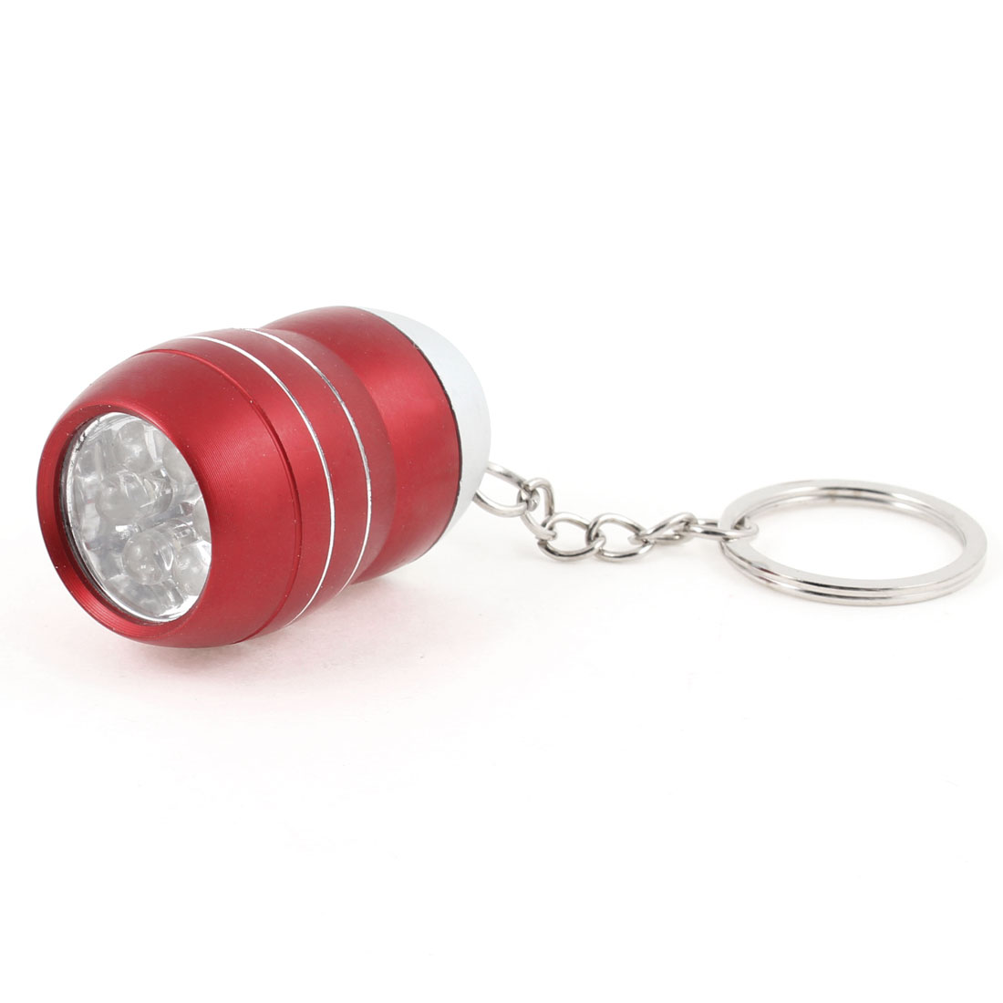 Red Press Button White Light 6-LED Flashlight Torch w Keyring