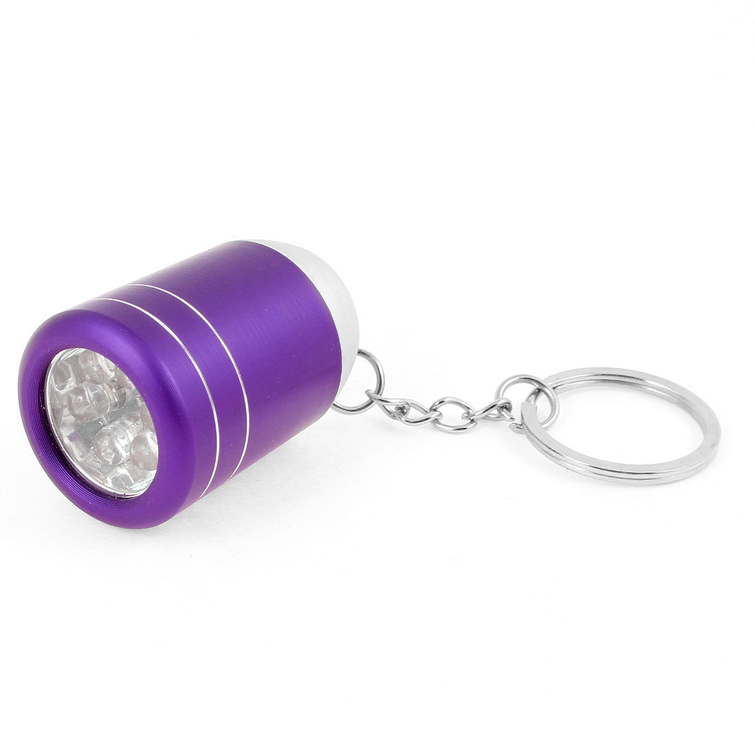 Purple Alloy Shell 6 LED White Light Flashlight Torch Lamp + Keys Chain Ring