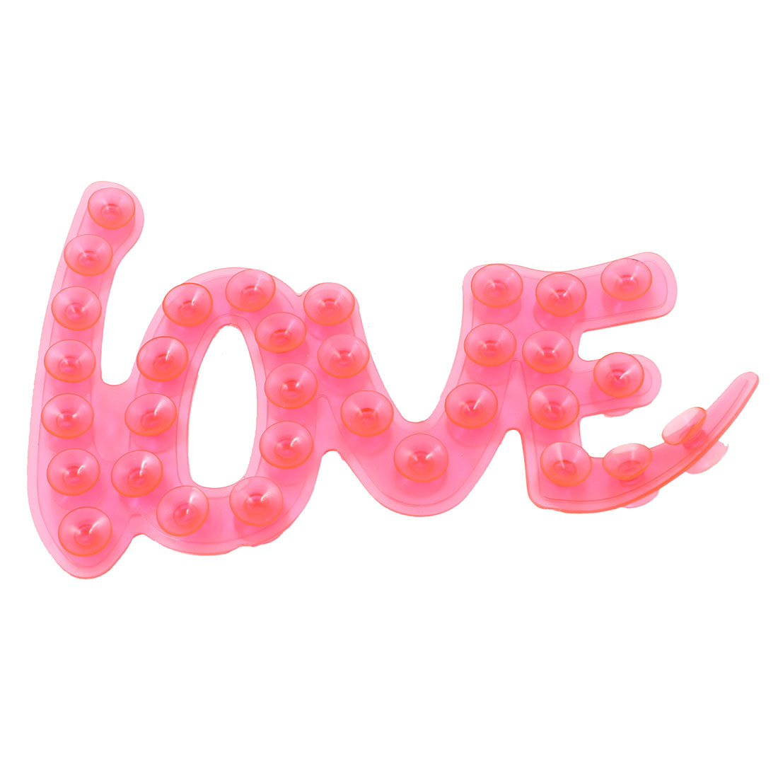 "Bathroom Clear Fuchsia Plastic Letters "" LOVE "" Design Suction Cups Soap Holder"
