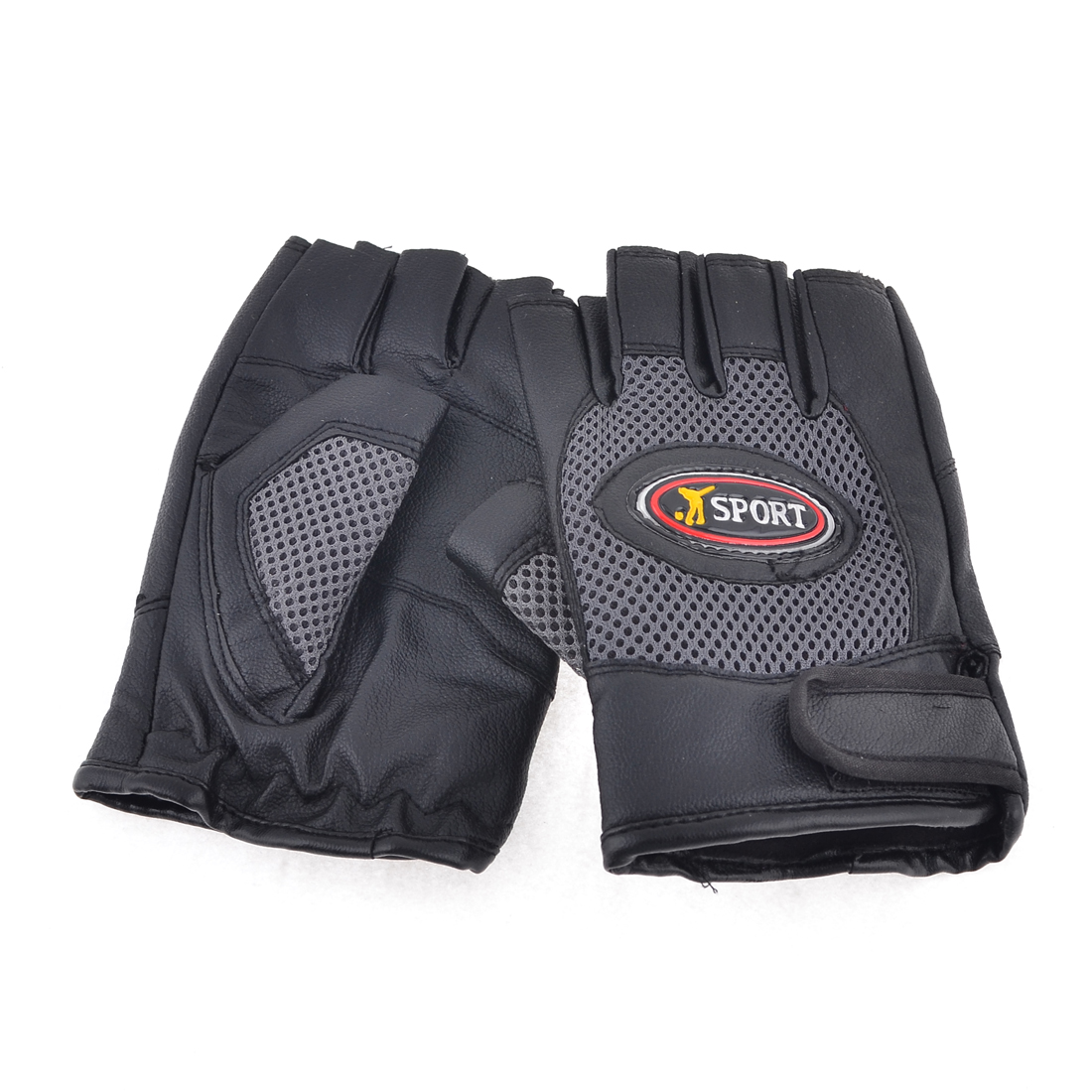 Adults Faux Leather Sports Cycling Climbing Half Finger Gloves Pair Black Brown