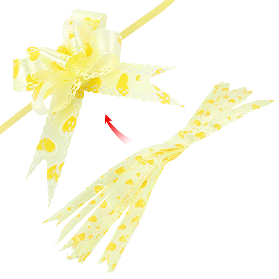 10 Pcs DIY Gift Wrap Festival Ornament Hollow out Pull Bow Ribbons Light Yellow