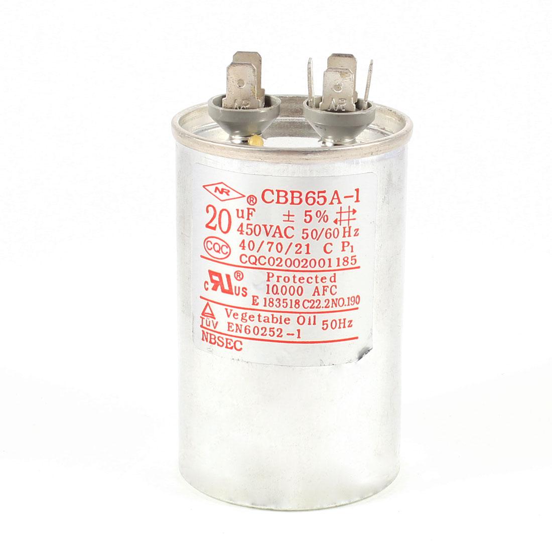 CBB65A-1 Air Conditioner Polypropylene Film Motor Run Capacitor 5% 20uF 450V