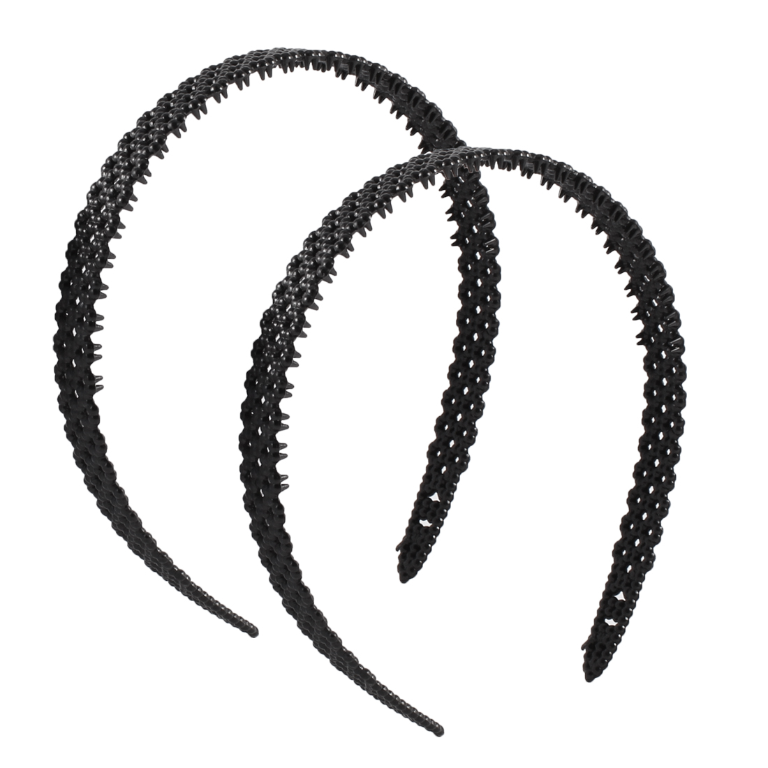 Hollow Out Design Plastic DIY Hairstyle Black Hairband Hair Hoop 2 Pcs for Lady