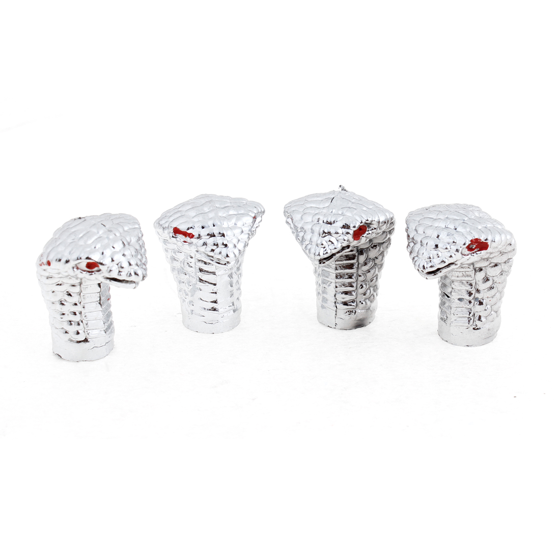 4pcs Silver Tone Cobra Shaped Motorcycle Car Tyre Tire Valve Cap Cover