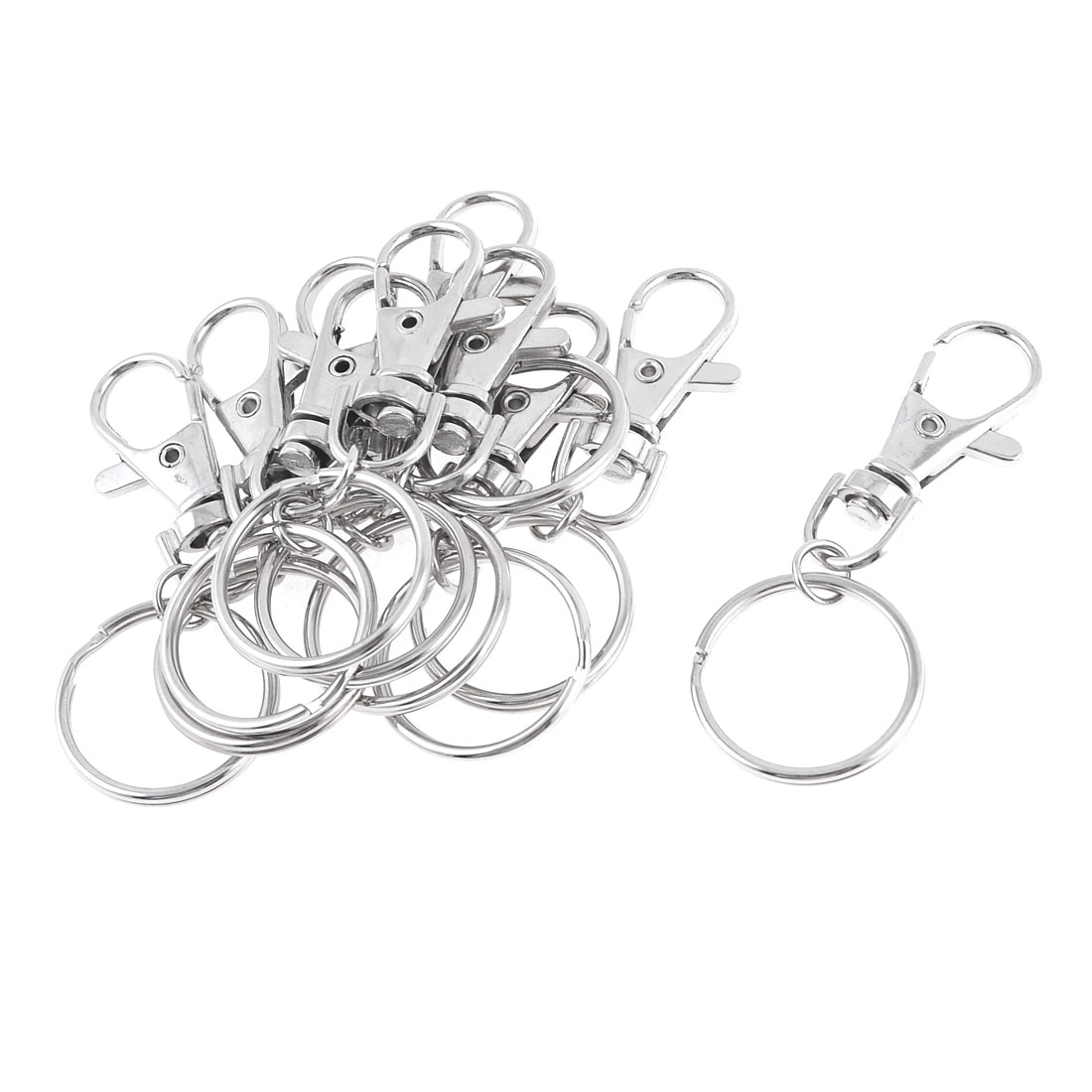 10 Pcs Ring Connecting Spring Loaded Flat Split Keyring Silver Tone