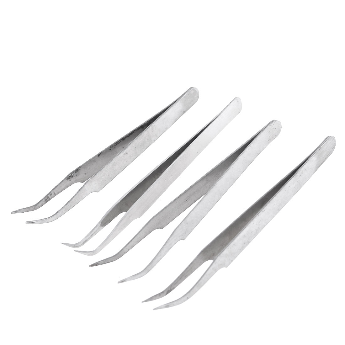 4 Pcs Silver Tone Bended Nose Pointed Stainless Steel Curved Tweezer 115mm
