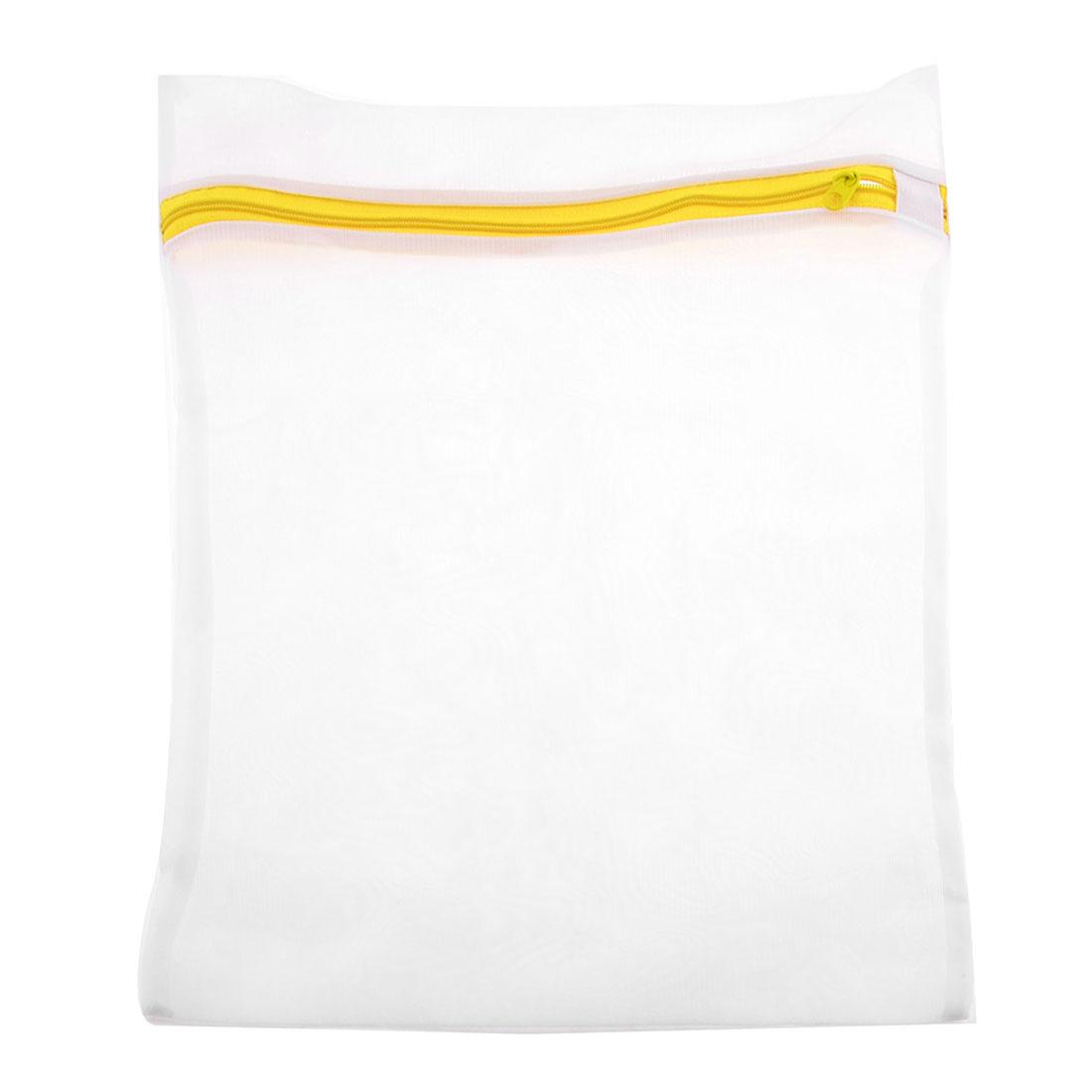 Portable White Yellow Nylon Underwear Lingerie Clothes Washing Bag 39cm x 28cm