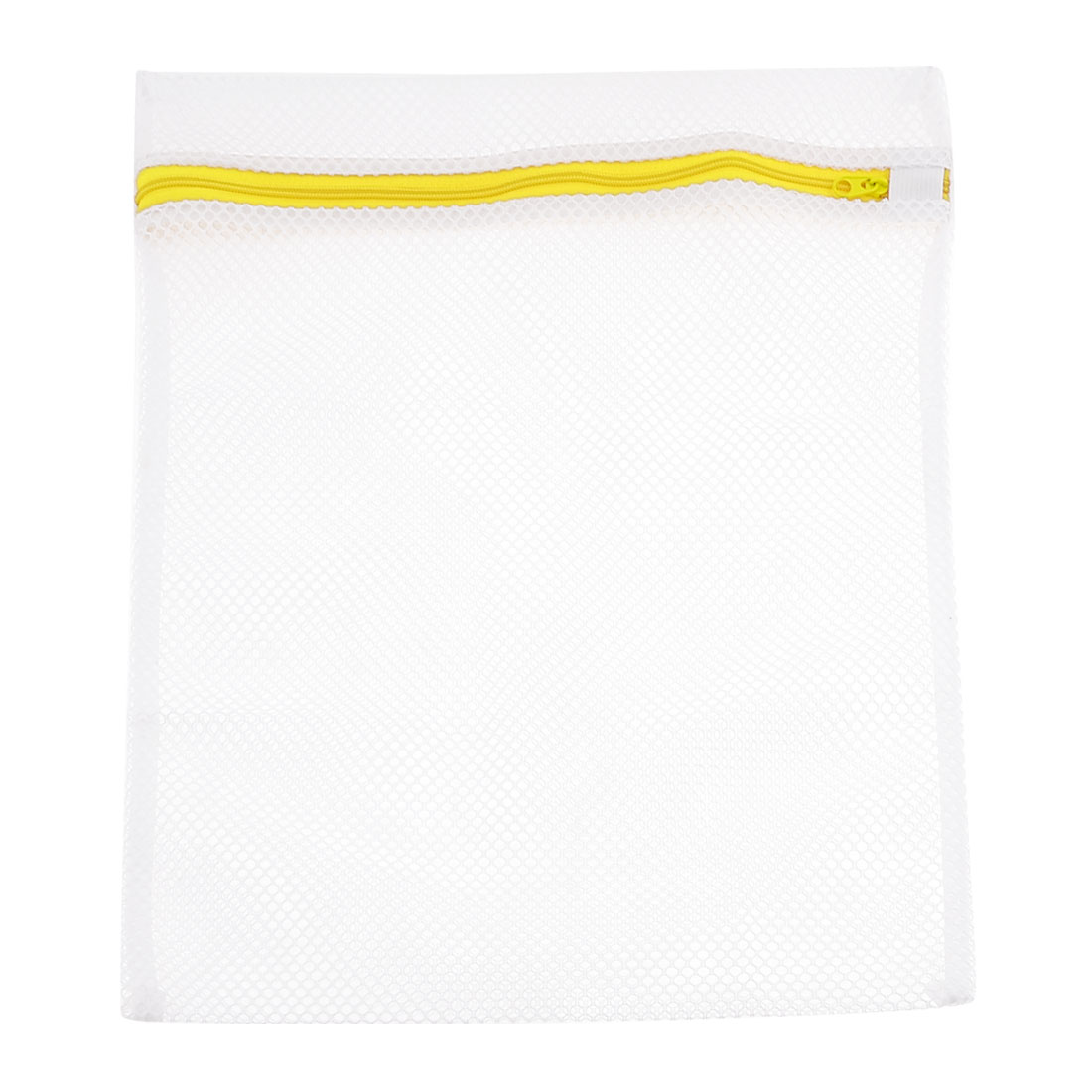 Laundry White Yellow Nylon Mesh Underwear Clothes Washing Bag 38.5cm x 27.5cm