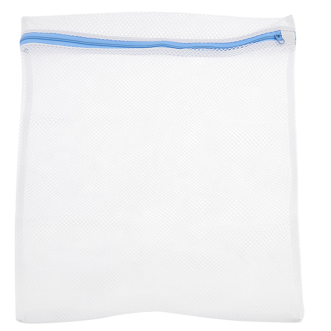 49cm x 37cm White Blue Meshy Silk Bra Clothes Washing Zippered Bag Wash Holder