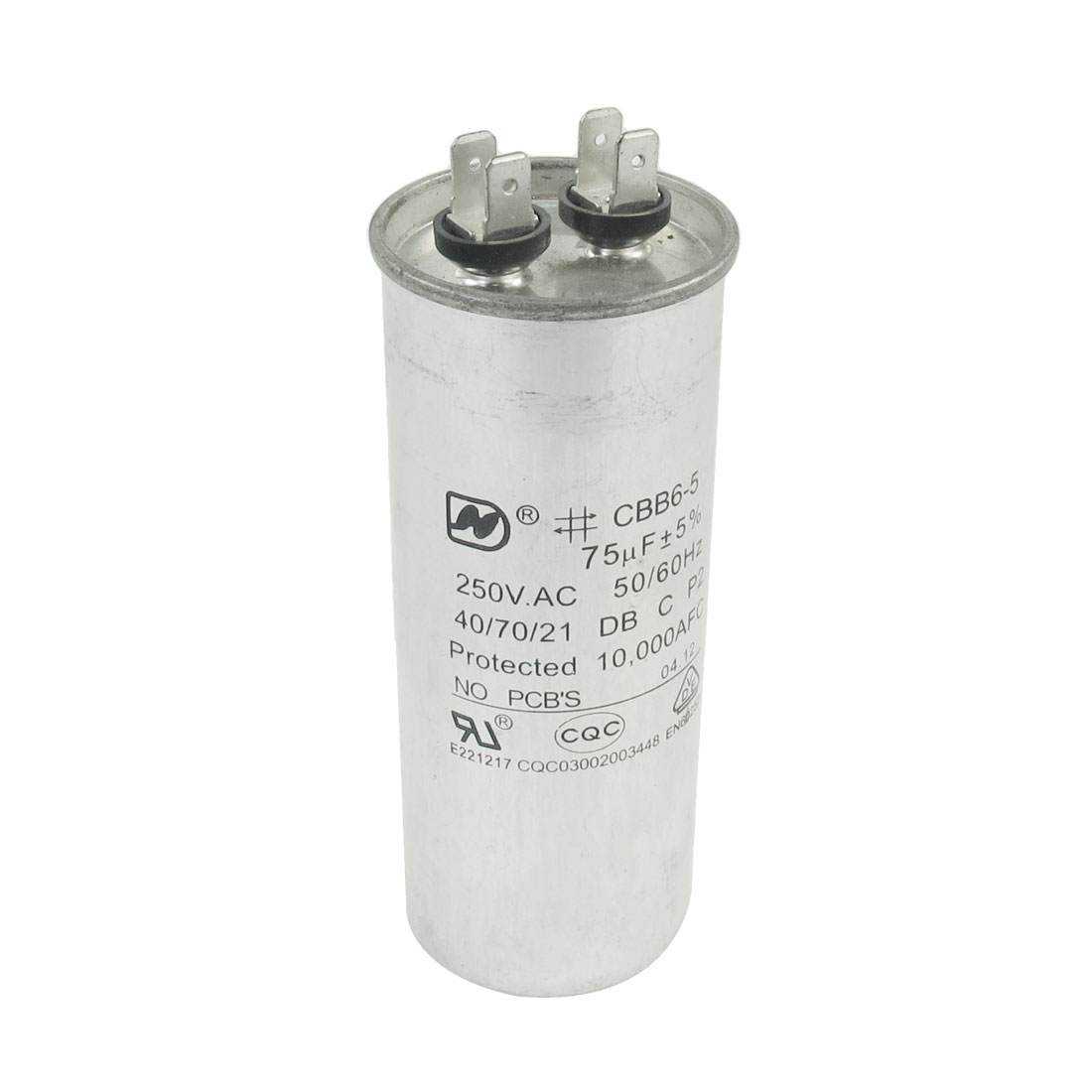 Washing Machine Lug Terminal Motor Start Capacitor 250VAC 75uF CBB6-5