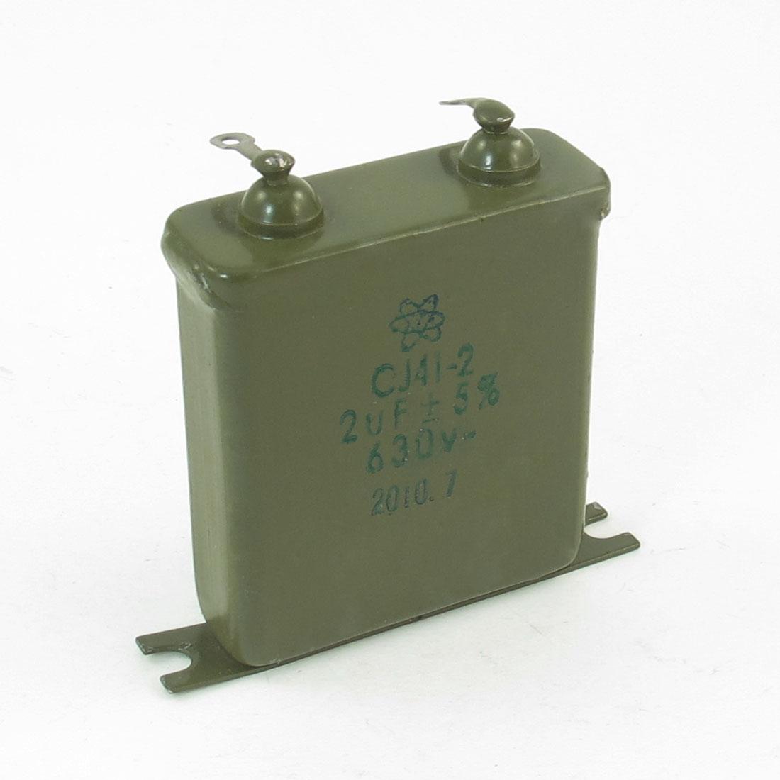 CJ41-2 2uF 630V 5% Metal Shell Solder Lug Terminals Paper Capacitor