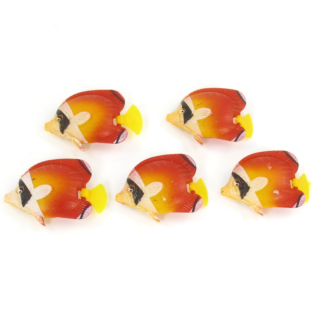5 Pcs Aquarium Orange Yellow Simulated Plastic Wiggly Tail Fish Decoration