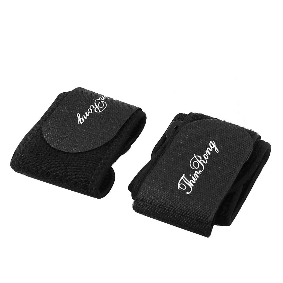 Hook Loop Fastener Neoprene Wrist Support Protector Black 2 Pcs