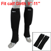 Dual Side Rubber Padded Black Stretch Pullover Calf Supports Guard Crus Warmer Pair