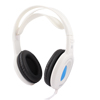 Laptop Black Sponge Ear Cushion White Blue 3.5mm Stereo Headset Headphone w Mic