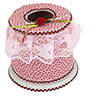 Home Desk Decor Lace Detail Pink Plastic Round Tissue Box Case