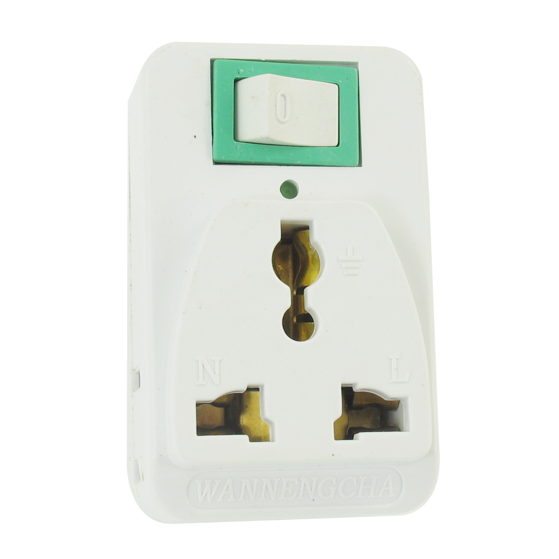 On Off Button AU US Socket 2 Pin Plug Adapter AC 250V 10A White Green