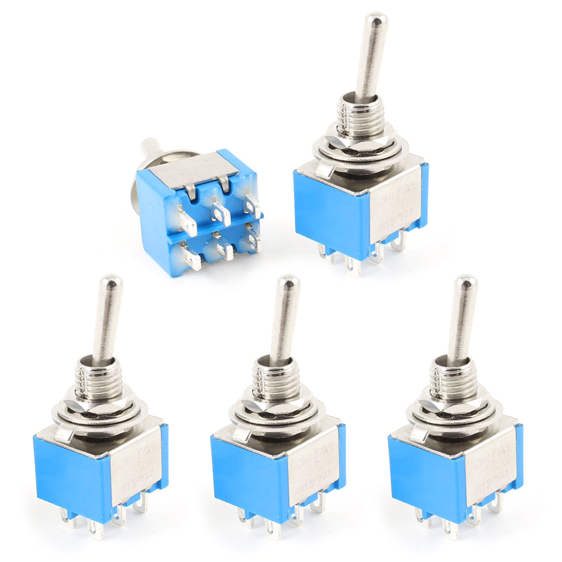 5 Pcs AC250V/3A AC120V/6A ON/ON 2 Ways DPDT 6P Locking Toggle Switch