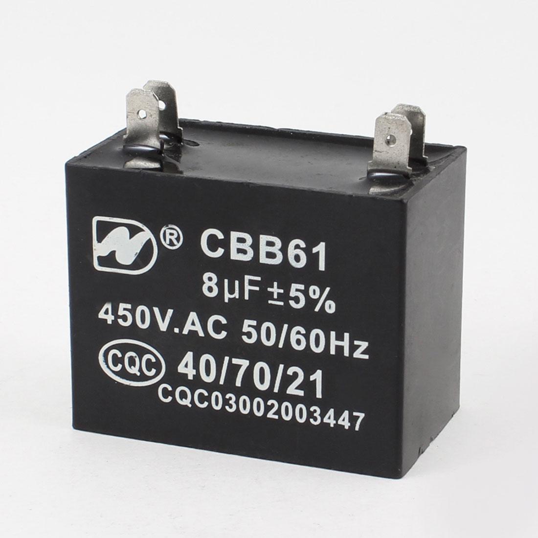 CBB61 450VAC 8uF 50/60Hz 4 Pins Air Conditioner Machine Capacitor