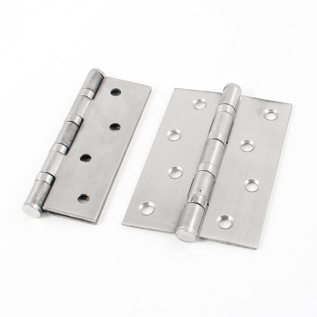 2 Pcs 10cm Length Stainless Steel Satin Nickel Door Gate Hinges Hardware