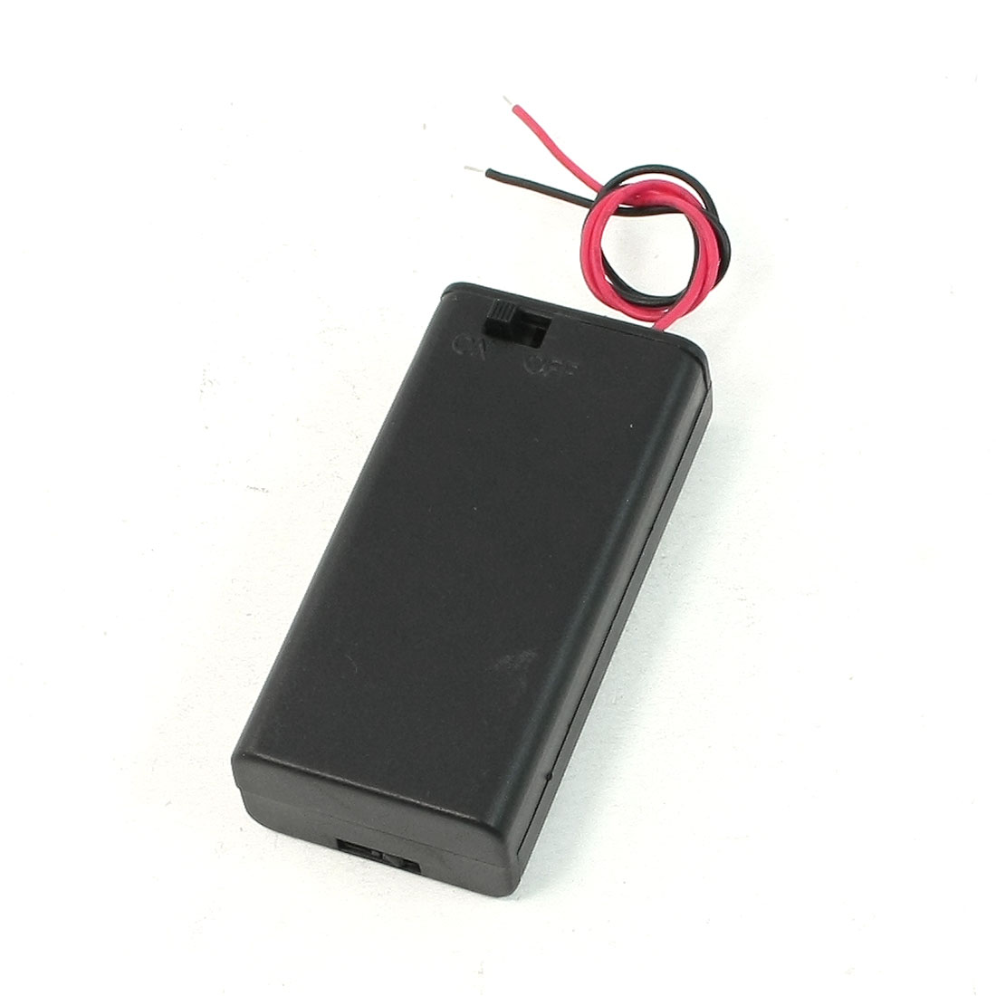 Black Red Cable Plastic 2 x 1.5V AA Batteries Cell Box Holder