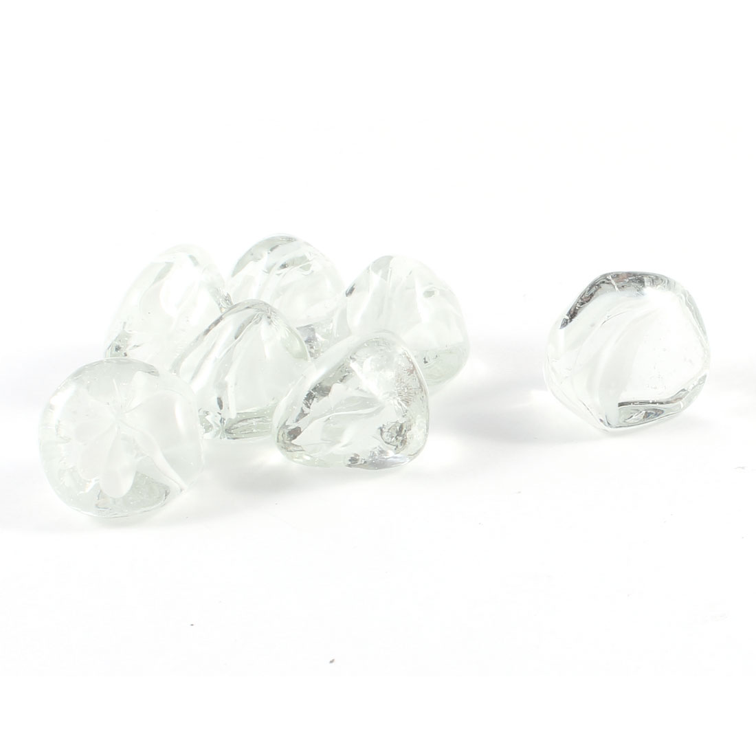 7 Pcs White Clear Glass Stones Ornament for Fish Tank