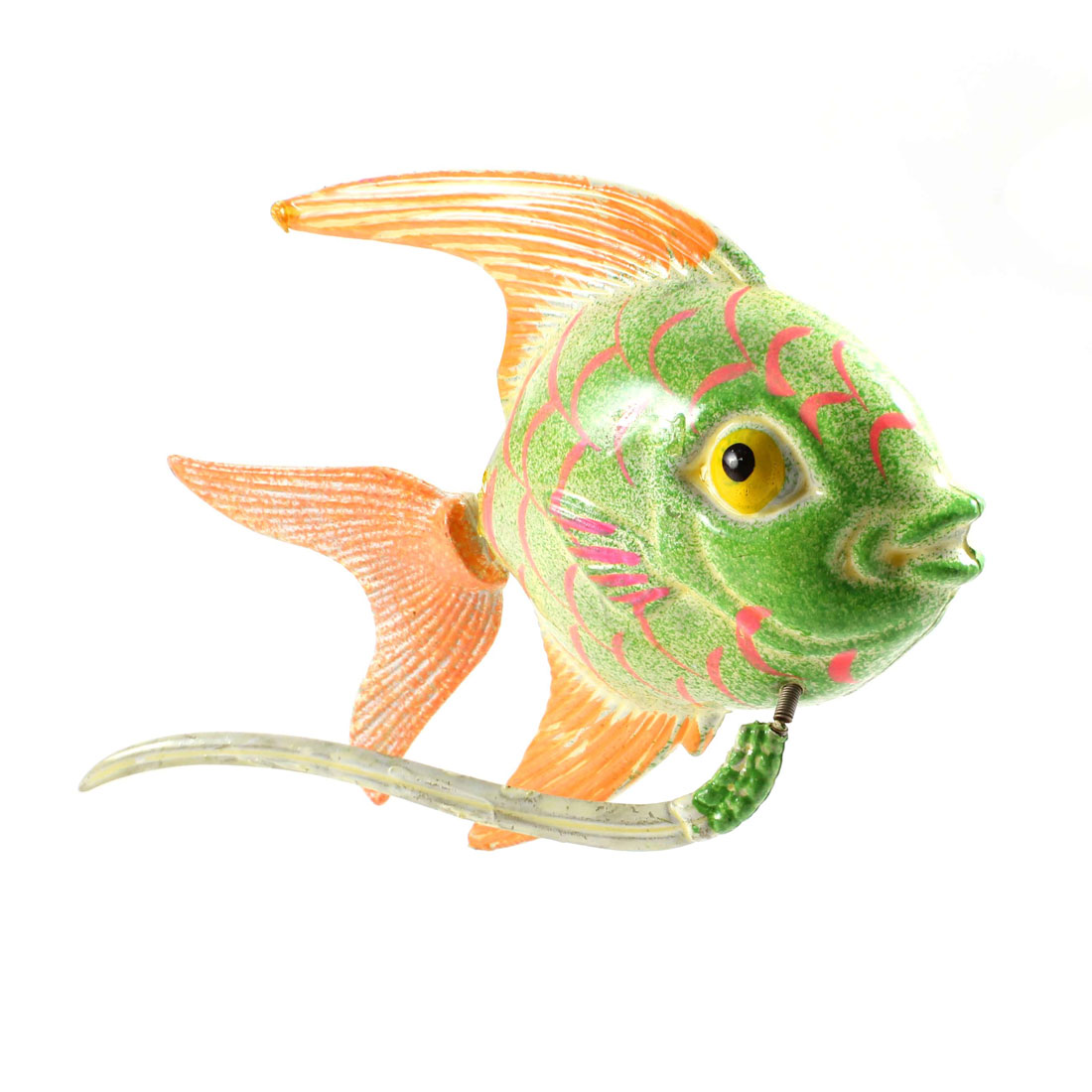 Green Orange Plastic Fish Magnetic Sticker Ornament for Fridge