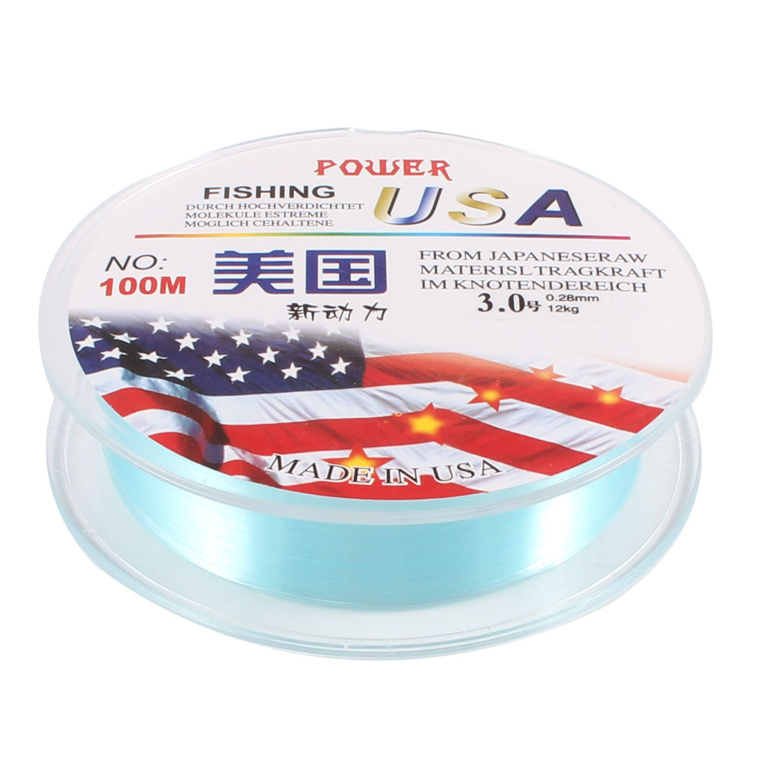 100M 3.0# 0.28mm Dia 12Kg Cyan Nylon Freshwater Fishing Line Thread Reel