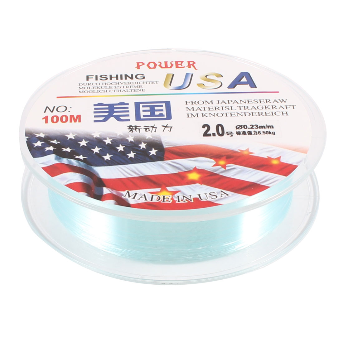 100M 2.0# 0.23mm Dia 6.5Kg Cyan Nylon Freshwater Fishing Line Thread Reel