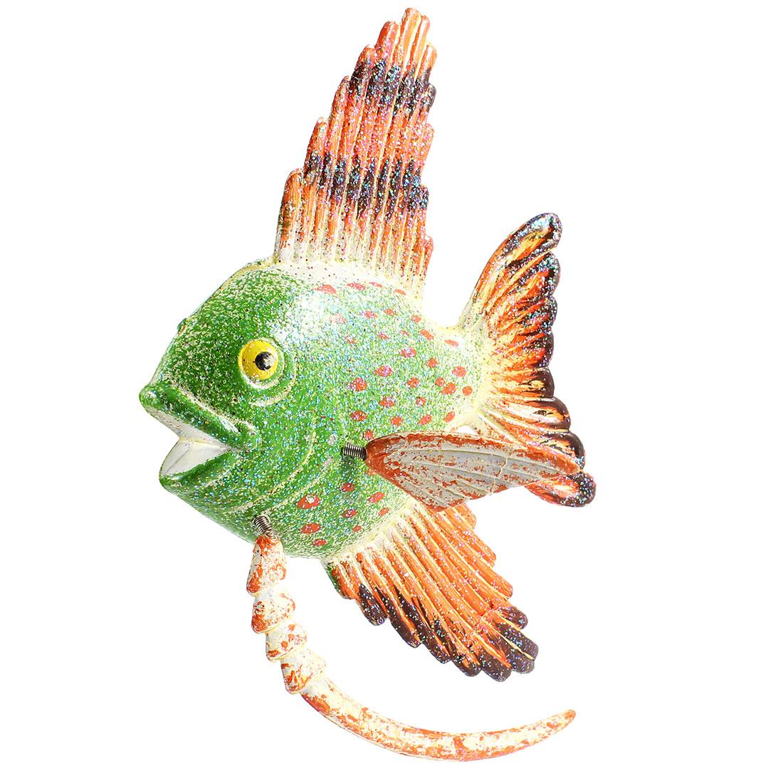 Green Orange Plastic Fish Fridge Magnetic Sticker Ornament