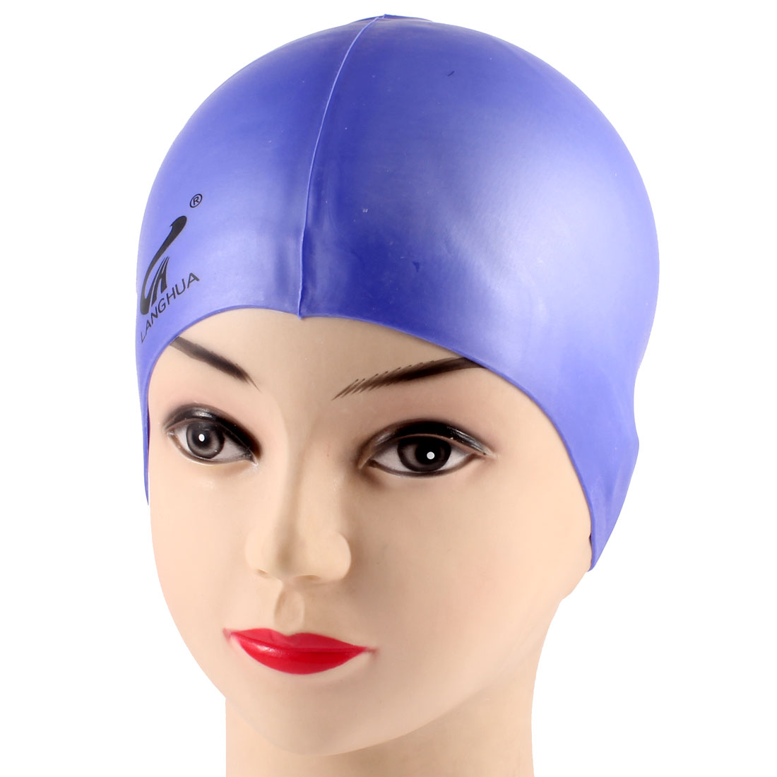 Adults Soft Silicone Dome Shape Elastic Swimming Cap Purple