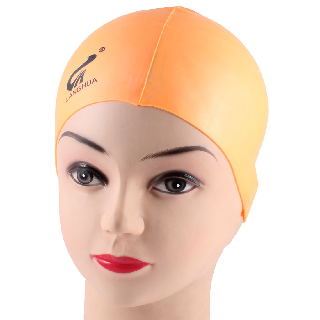 Adults Soft Silicone Dome Shape Elastic Swimming Cap Orange