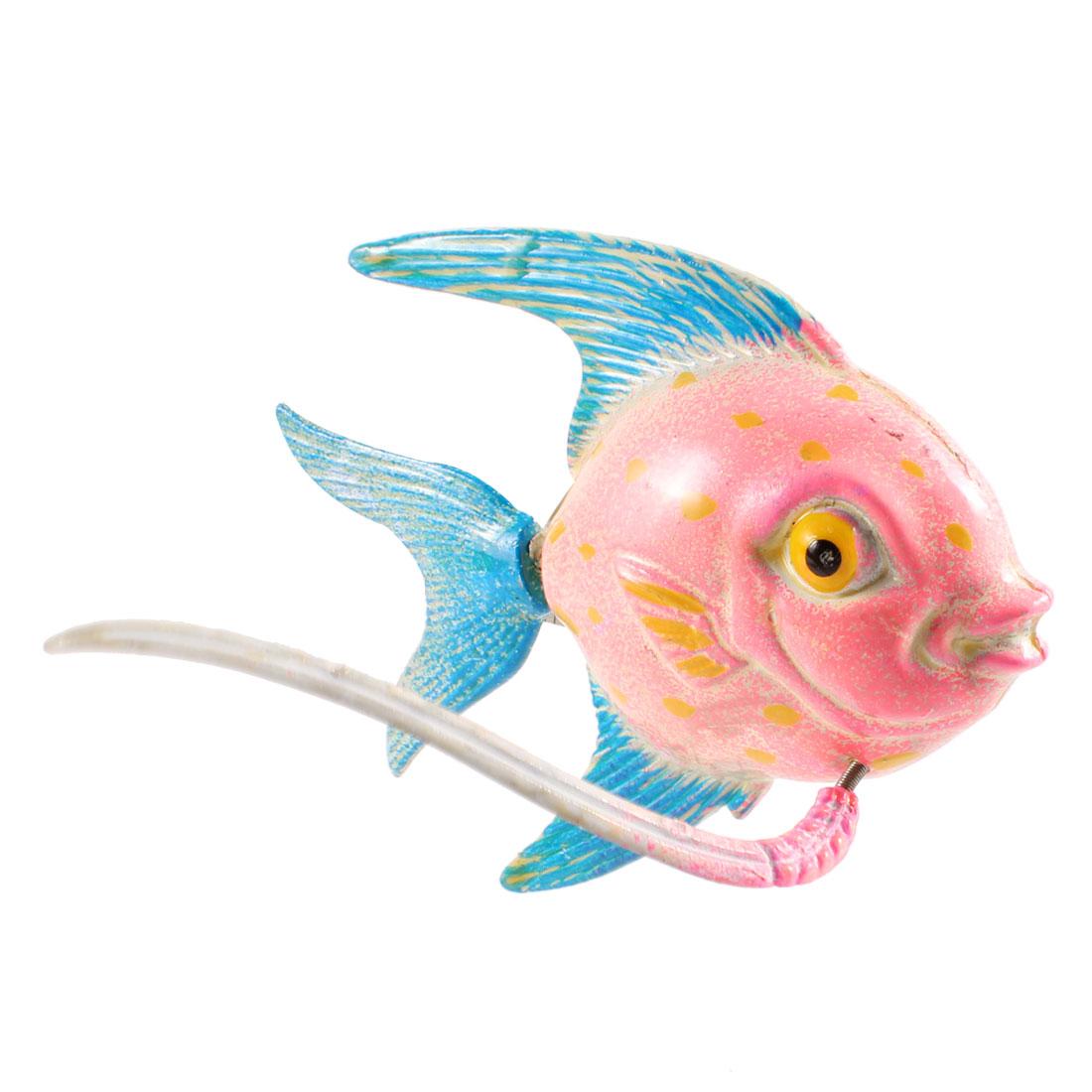 Pink Cyan Plastic Manmade Fish Fridge Magnetic Sticker Ornament