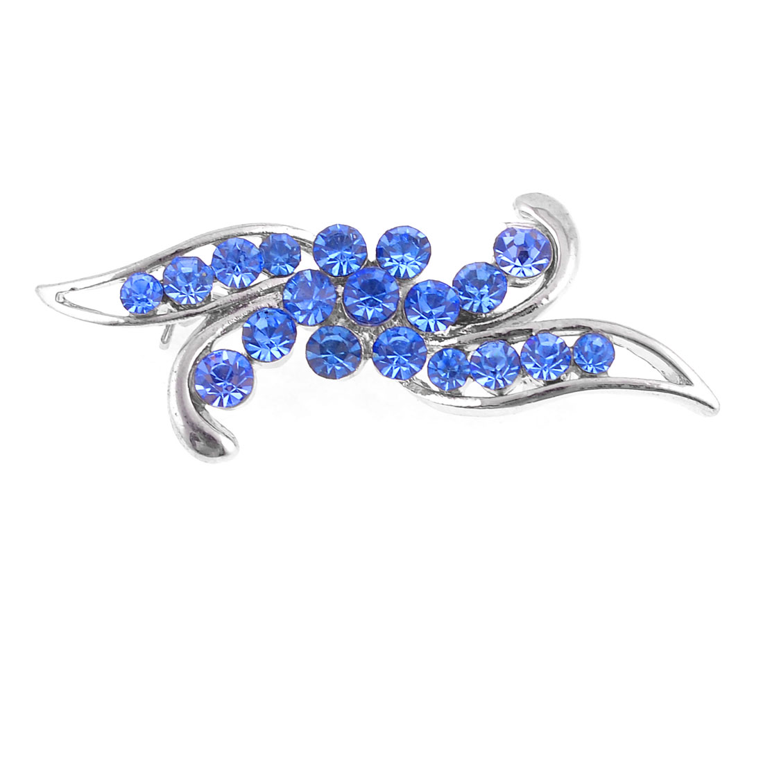 Women Dark Blue Plastic Rhinestones Accent Safety Pin Brooch Broach Dress Decor