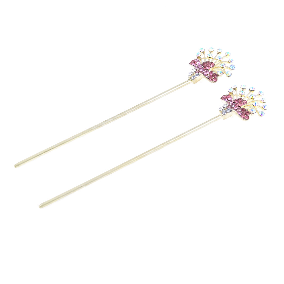"Pair Glittery Rhinestones Detail Hair Sticks Hair Pins 5.8"" Length for Women"